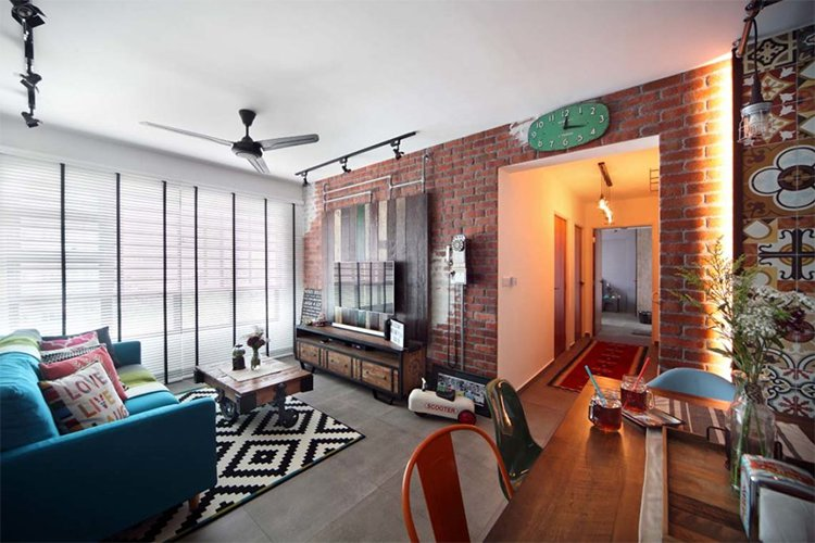 Sala integrada apartamento rústico/industrial